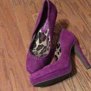 Jessica Simpson purple riveted pumps
